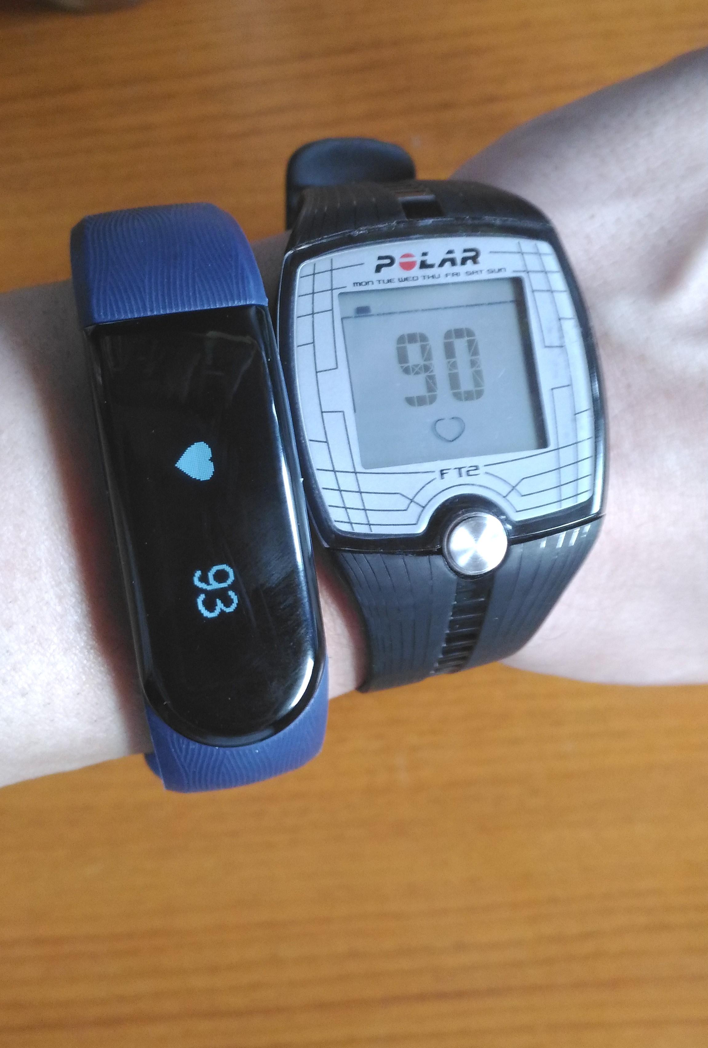 LETSCOM 活動量計 心拍計 ID101HR とpolar心拍計の比較