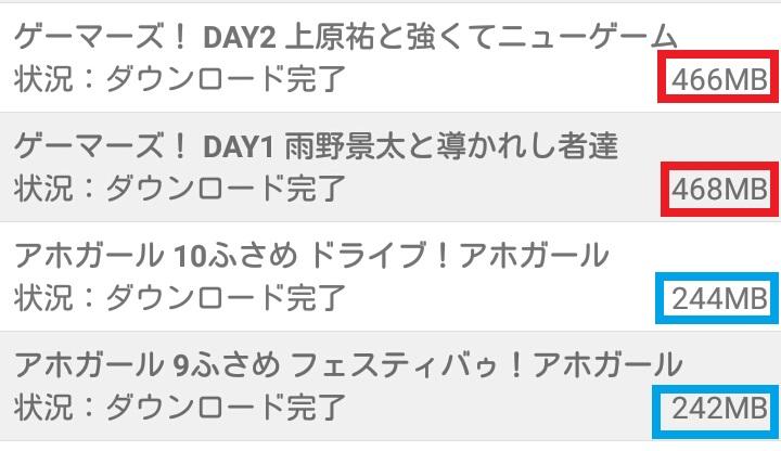 dアニメストア アニメダウンロード 容量