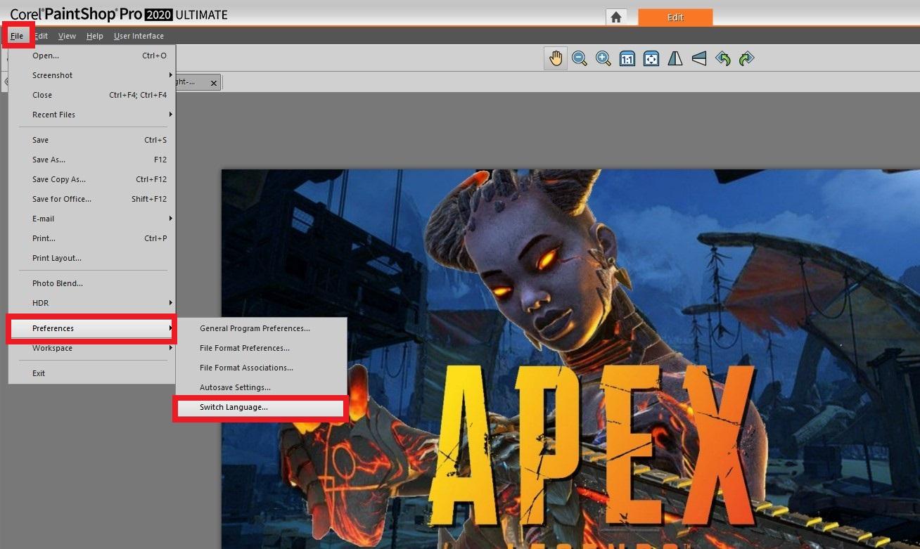 Corel PaintShop Proの言語設定の変え方