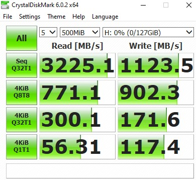 XPG SPECTRIX S40G SPEED Crystal Disk Mark