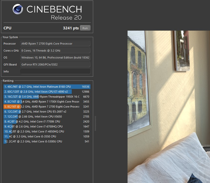 Ryzen7 2700 CINEBENCH20 結果